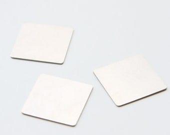 4pcs German Silver Metal Blank - Stamp on - Metal stamping - Square 19mm (110100)