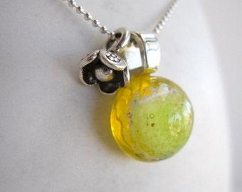 Yellow Dwarf Planet Necklace with Flower Charm
