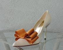 Copper Satin Ribbon Bow Shoe Clips Set Of Two, More Colors Available