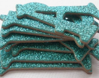 TEAL Glitter Chipboard Letter Die Cuts - Alphabets -  1.5 inch - 50 Pieces