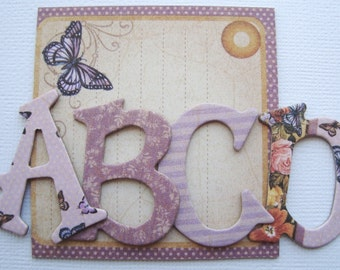 "MOTHERS LOVE  Floral Designs - Chipboard Alphabet Letters & Die Cuts ....... 1.5"" Tall"