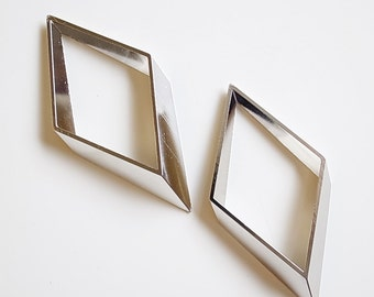1 piece Large Newly made Plated in steel tone 3mm thick raw brass tube  geometric  -  90 x 45mm
