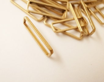 15 pieces of  thin  raw brass tube outline charm in rectangular geometric shape 20 x 6 mm