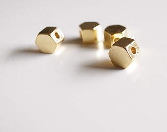 20 pieces of  solid raw brass bead charm hexagon shape with hole through 5x5x4 mm plated in gold color