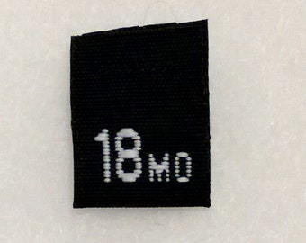 Size 18 mo (Eighteen Months) Black Woven Clothing Size Tag (Package of 500)