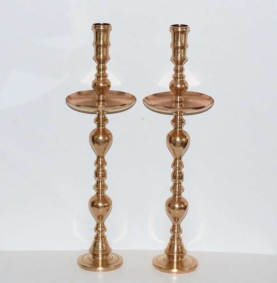 Vintage moroccan solid brass floor standing candle holders for Floor candle holders