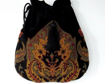 Tapestry Boho Bag  Drawstring Bag  Black Velvet Bag  Bohemian Bag  Crossbody Purse/Shoulder Bag