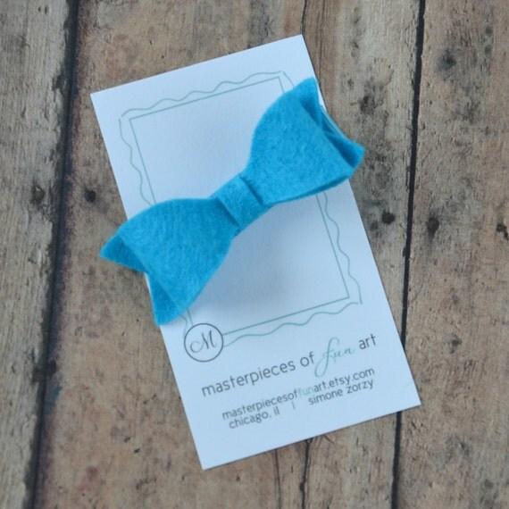 Turquoise Wool Felt Hair Bow - teal felt bow hair clips - Summer felt clippies