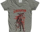 Woman's Vneck Bike Tee, The Liberator in Unisex Army Green