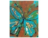Nursery Decor Blue Butterfly Print Bug Insect Turquoise Orange Nature