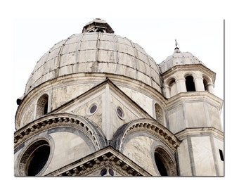 Venice Cathedral Italy In White Black Church Basilica Architecture Art Print Photography