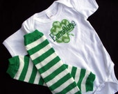 St. Patrick's Day Bodysuit with Shamrock Applique and Matching Leg Warmers