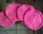 Handmade Crocheted Hot Pink Drink Coasters