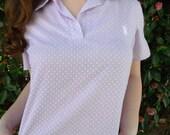 Vintage Lavender Swiss Dot Shirt. 60's Vintage Summer Top. Spring Shirt