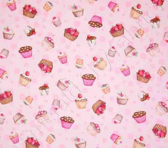 Cupcake Print Fabric Pink Background 1 Yard