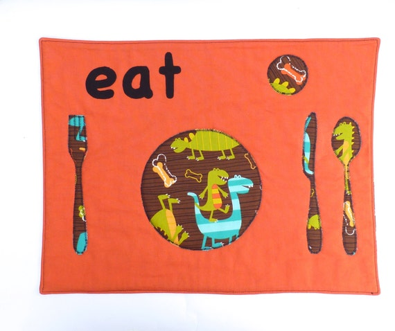 Set the Table Placemat Montessori Fun Educational Dinosaur Chomp eat Place Mat by BonTonsGifts on Etsy