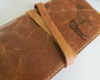 leather checkbook wallet pocketbook custom handprinted