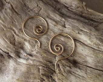 Gold Spiral Question Earrings - SMALL- E066GF-S