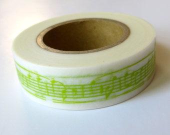 Lime Green Washi Tape, Musical Notes, Japanese Masking,Tokyo Edge