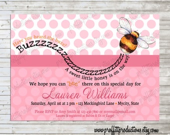 Have you heard the buzz - A sweet baby bee is on the way shower invitation - digital file