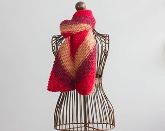 Half Price Sale, Alpaca Hand Knit Scarf, Diagonal Stripes, Burgndy, Red, Brown, Women's Scarf, Gift for Her, Ready to Ship