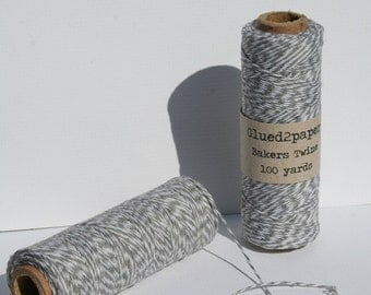 Grey and White Bakers Twine - Grey Bakers Twine - Gray Bakers Twine - Scrapbooking Twine - Craft Supplies - 100 yards of 4 Ply Twine