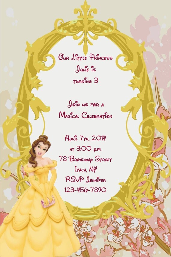 Zany image inside free printable beauty and the beast birthday invitations