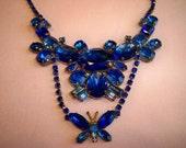 Vintage Czechoslovakia Butterfly Rhinestone Necklace Earrings Set