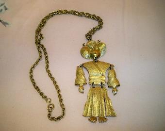 Vintage Japanese Kabuki Theater Player Figural Necklace