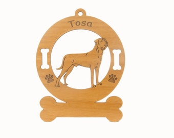 4178 Tosa Dog Standing Personalized Wood Ornament - Free Shipping