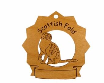 7365 Scottish Fold Cat Personalized Wood Ornament