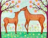 Original Painting, Mixed Media Animal Painting Deer Painting, Children Decor, Nursery Decor
