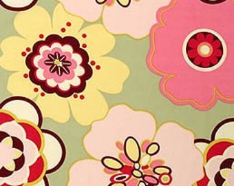 Alexander Henry Pink Bangle Dot & Pink and Sage Kleo Floral Cotton Fabric, 1/2 Yard Each. Total 1 Yard Set
