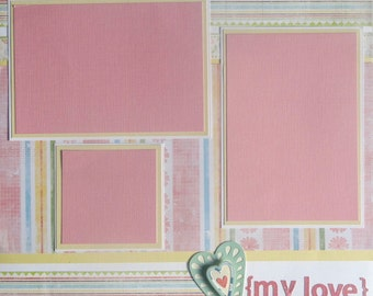 MY LOVE 12 x 12 premade scrapbook page - girl