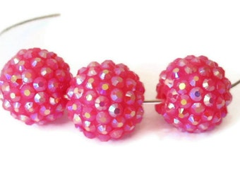 12 Basketball Wives, Large Aurora Borealis Hot Pink Rhinestone Beads, Jewelry Making Supply, 18 mm,