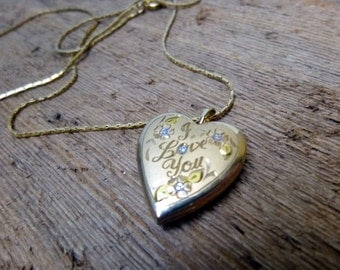 Etched I Love You Heart Locket, Heart Shaped Pendant on a Chain, Gold Filled