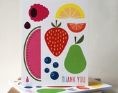 Fruit Thank You Notes, Notecards, Set of 10 notecards, Thank You Card Set