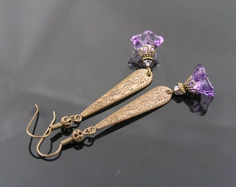 Purple Flower Earrings, Long Ornate Dangle Earrings with Purple Flowers, Purple Earrings, Vintage Style Earrings, Czech Bead Earrings, E1672