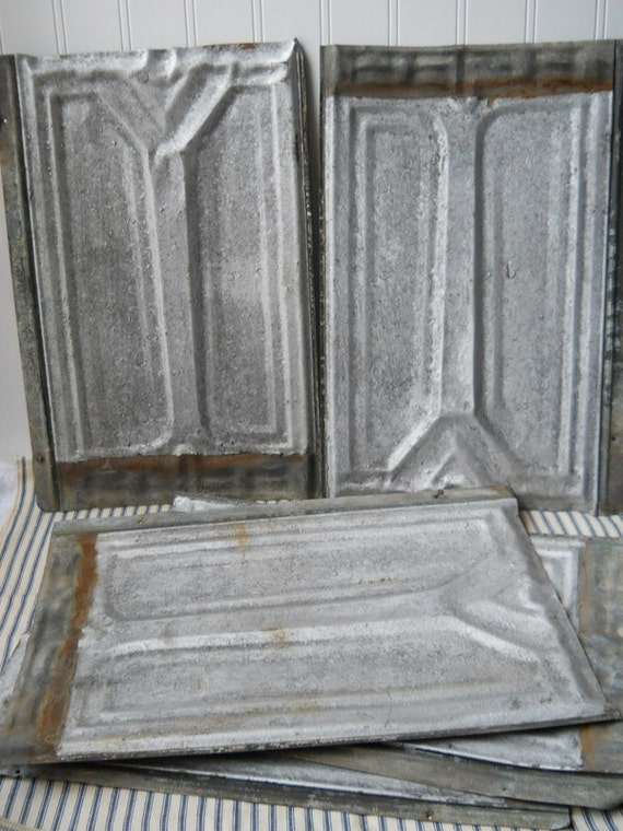 3 Antique Tin Shingles Vintage Ceiling Roof Tins Tiles