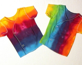 Two Rainbow Tie Dye Snap Front TShirt.