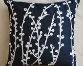 Decorative Throw Pillow Covers Accent Pillow Couch Pillow 20x20 Navy Blue Silk Pillow Case Embroidered Navy Blue Willow Home Living