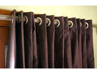 "Deep Plum Silk Curtain 52""x84"" Grommet Drapes Home And Living Bedroom Decor And Housewares Valance Window Treatments Blackout Curtain Panels"
