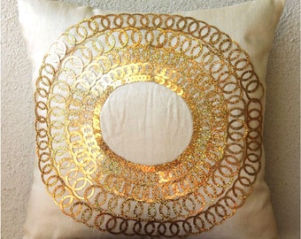 Throw Pillow Covers 16x16 Inch Silk Bead Gold Embroidered Pillow Cover Decorative Couch Toss Sofa Bed Pillow Cases Accent Pillows Gold Discs