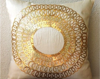 """Luxury Light Gold Pillows Cover, 16""""x16"""" Silk Pillows Cover, Square  Metallic Gold Sequins Medallion Pillows Cover - Gold Discs"""