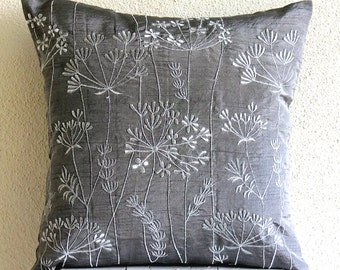 Willow Splendor - Euro Sham Covers - 26x26 Inches Silk Pillow Cover with Embroidery