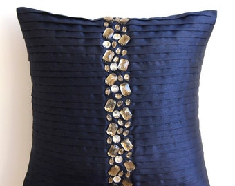 "Handmade Navy Blue Cushion Covers, Pintucks And Crystals Throw Pillows Cover Square  18""x18"" Silk Pillow Covers - Navy Blue Crystals"