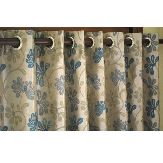 Side Window Panel Curtain Teal and Beige Fabric