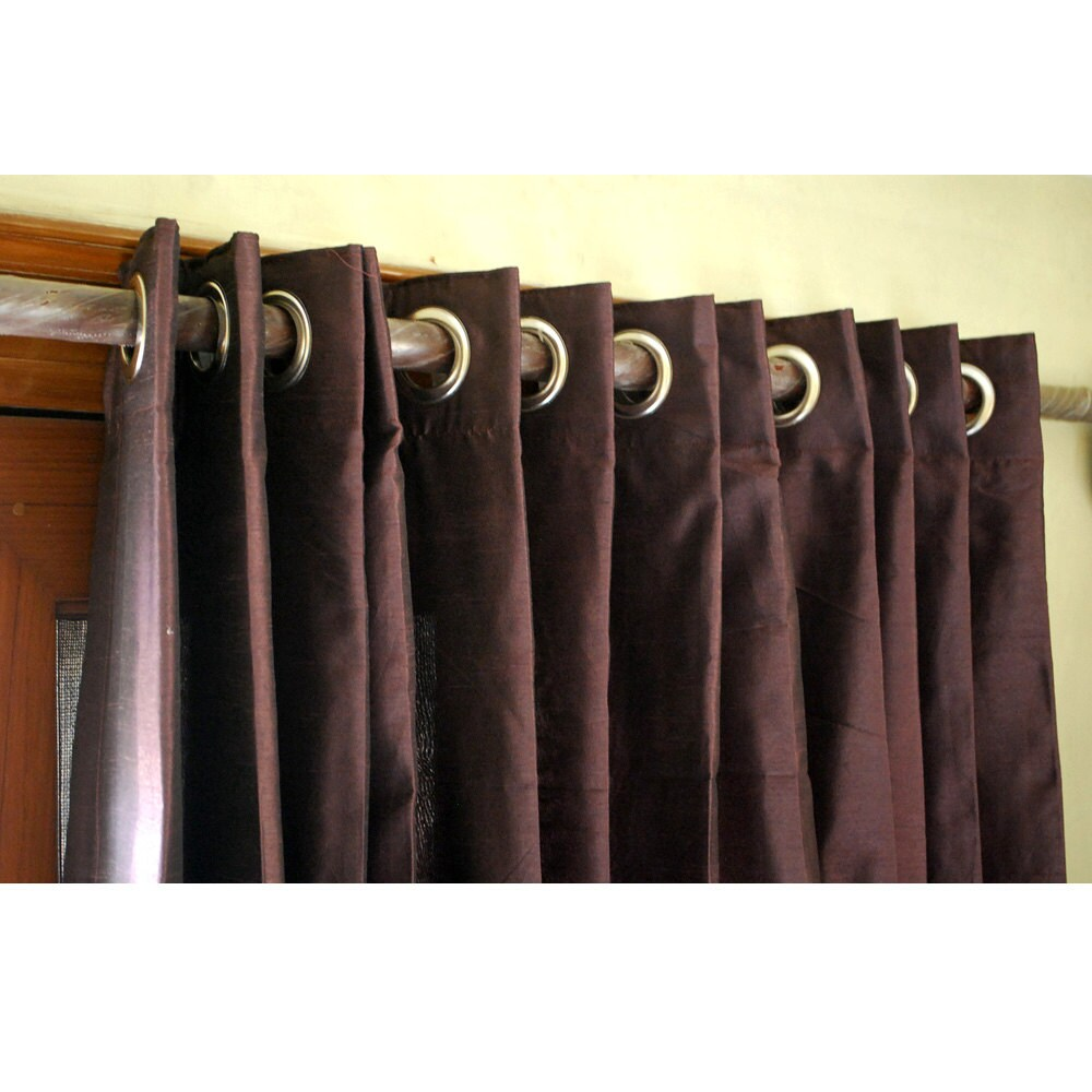 Blackout curtains for bedroom - Deep Plum Silk Curtain 52 X84 Grommet Drapes Home And Living Bedroom Decor And Housewares Valance Window Treatments Blackout Curtain Panels