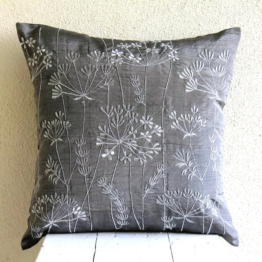 Charcoal Grey Throw Pillows Cover Square Willow Design