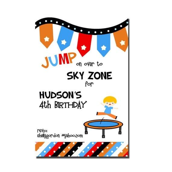 Trampoline Party invitation Sky Zone Birthday by peachymommy